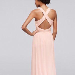 David's Bridal Dresses - David's Bridal Mesh Long with Crisscross Back